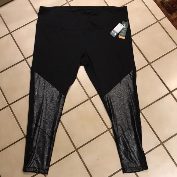 d7886875861d1 MTA SPORT Pants | Black Wsilver Front Detail Leggings | Poshmark
